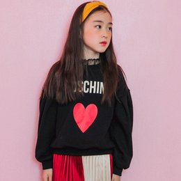 Wholesale Children Girls Spring Clothes - Girls T-shirts Kids printed velvet letters love heart Tops Children long sleeve loose warm Tees Autumn Winter Kids warm clothes C1895