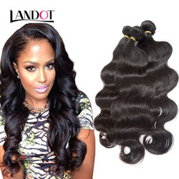 Wholesale Dark Blonde Hair Extensions Weft - Brazilian Virgin Hair Body Wave Unprocessed Peruvian Indian Malaysian Cambodian Remy Human Hair Weave Bundles Natural Black Full Extensions