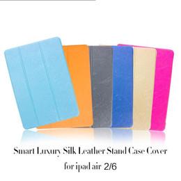 Wholesale Ipad Mini Smart Rubber Case - For ipad case iPad Pro Stand Leather Case Silk Slim Clear Transparent Smart Back Cover For iPad Mini Air iPad 2 Cases