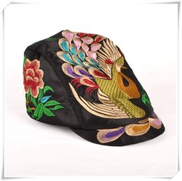 Wholesale Rain Duck - NEW fashion hat folk style duck tongue Hat Lady peacock China traditional handmade hat peaked cap