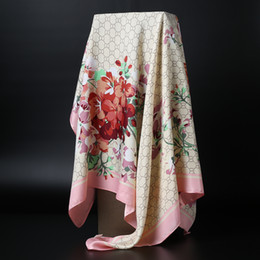Wholesale Wholesale Pink Scarf - Autumn Winter New Silk Imitation lady Flowers Print shawls Women's Scarf square Wraps 90x90cm