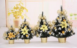 Wholesale Little Trees Wholesale - Mini christmas tree Christmas decorations on the table DIY Party Exquisite gold blue little tree decoration Party Supplie 3 size wholesale