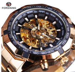 Wholesale Winner Skeleton Silver Automatic - Forsining Sport Racing Series Skeleton Stainless Steel Black Golden Dial Top Brand Luxury Watches Men Automatic Watch Clock Men