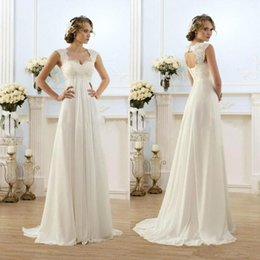Wholesale Cheap Romantic Dresses - 2018 New Romantic Beach A-line Wedding Dresses Cheap Maternity Cap Sleeve Keyhole Lace Up Backless Chiffon Summer Pregnant Bridal Gowns