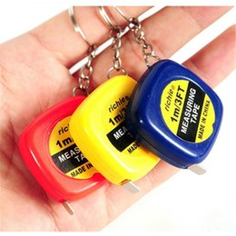 Wholesale Measuring Tape 1m - Tape Measure keychains key chain Mini 1M measure tapes keychain Steel Ruler keyrings Portable Rulers key ring Christmas Gift wholesale