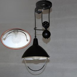 Wholesale Hotel Bedroom Accessories - Metal Vintage hanging pulley Loft Industrials American countryside 1 head adjustable head lamps hanging wire pulley accessories
