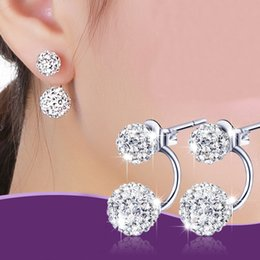 crystal ball ear stud Coupons - Crystal Stud Earrings S925 Sterling Silver Fashion Women Crystal Ball Ear Stud Earring Rhinestone Female Korean Girls Jewelry Gifts WX-S02