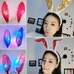 Wholesale Raving Rabbits - Novelty Flashing LED Hair Bands Bow Light Up Toys Prom Dress Up Rave Toy Flashing Rabbit Ears Headband For Halloween Xmas Party Supplies