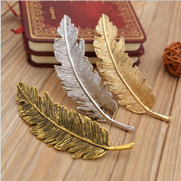 Wholesale Vintage Style Barrettes - 2016 New arrivavl Vintage Style Multicolor Metal leaves Feather Hair Clips Barrettes leaves shaped hairpin free shipping