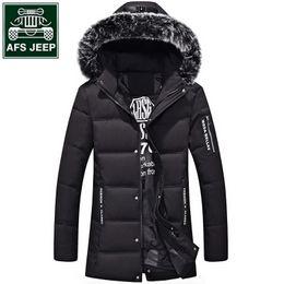 Wholesale Men Full Length Fur Coats - 2017 New Mens Jacket Thick Coat Warm AFS JEEP Parkas & Downs Hoode Fur Collar Slim Jacket Jaqueta Long Length Coat Jackets L~4XL