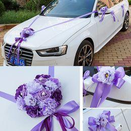 Wholesale Wedding Cars Flowers Set - Wedding Car Ribbon Married Car Decorations Bridal Car Decoration Wedding Car Flowers Set Car Decoration Ideas