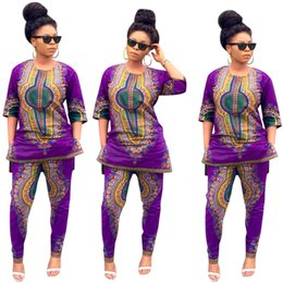 Wholesale Wax Dress For Women - spring autumn summer 2016 African dresses for women dashiki wax batik printing cotton 2 pieces short sleeve coat+long pants suit F01