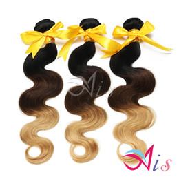 2019 haciendo tejidos Grado 7A 14-28inches Ombre Hair 3Bundles / lot Body Wave Hair Weaves Machine Hecho extensiones de cabello de la onda del cuerpo indio haciendo tejidos baratos