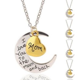 Wholesale I Love Mix Gift - Mixed Heart Vintage Silver I Love You To The Moon and Back Charms Choker Statement Sun Moon Collar Necklaces&Pendants For Women Gift Q137