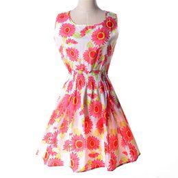 Chaleco leopardo online-FG1605 nuevos vestidos de verano para mujeres ropa Bohemia floral sin mangas de leopardo chaleco femenino vestido de gasa playa vestidos S092