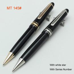 Wholesale Office Supplies Pens - Luxury black resin and metal 145 rollerball pen Ballpoint pen  fountain pen office school supplies blanc pen hot sell