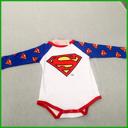 Wholesale Super Man Rompers - baby rompers super man blue style hot selling factory outlet fashional boys girls jumpsuits one piece free shipping