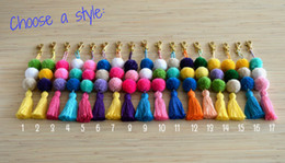 Wholesale Wholesale Purse Chains - Pom pom keychian Purse charm Tassel keychain Pom pom bag charm Handbag charms Tassel bag charm Pom pom key chain tassels Boho Gypsy 30pcs