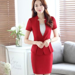 Wholesale Ladies Short Sleeve Office Suits - Summer Fashion Ladies Office Uniform Style OL Skirt Suits Red Blazer and Skirt