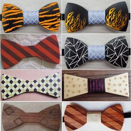 Wholesale Wood Pattern For Carving - Coloured pattern Wood Bowtie Semi-finished products 30 styles Handmade carving Bowknot For Gentleman Wedding necktie Father's day
