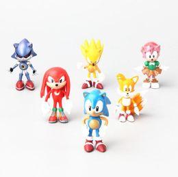 Wholesale Sonic Doll - 6cm aprrox 6 style Figure Sonic The Hedgehog Super Sonic Characters PVC Mini Toys Dolls with Retail Box 6pcs set
