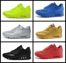 Wholesale Red Flags Men - 2017 Air 90 HYP PRM QS Men Women Running Shoes Air 90s American Flag Black White Navy Blue Gold Silver X-A-M Sports Sneakers