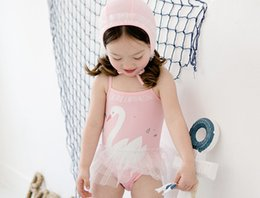 Wholesale Swan Dress Girl - Bebezoo children swimsuit girls cute swan Siamese swimwear kids lace suspender tulle dress swimwear children beach swimsuit 7428