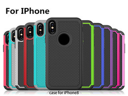 Wholesale Cell Phone Slip Case - Drop Antifouling Full Protection PC +TPU 3 in 1 Shell Tyre Lines Cell Phone Case Non-slip Back Cover for iPhone 8 Samsung galaxy S8 note 8