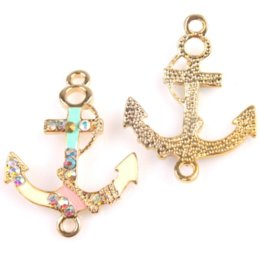 Wholesale Rhinestone Anchor Connectors - 24pcs lot Anchor Shape Colorful Enamel Plated Gold Dots AB Rhinestone Carved Alloy Connector Jewelry Charms 35*27*3mm 146267