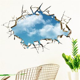 Wholesale Blue Abstract Designs - vivid creative 3D window hole landscape blue sky white cloud home decal wall sticker for house living room roof decals stickers