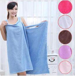 Wholesale Robe Body - Magic Bath Towels Lady Girls SPA Shower Towel Body Wrap Bath Robe Bathrobe Beach Dress Wearable Magic Towel 9 color