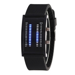 Wholesale Double Faces Watch - 2018 New fashion Blue light LED electronic watch men casual double row lamp Watch black big face rubber strap mens watch free shipping