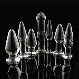 Wholesale Large Glass Butt Plugs - Women Big Large Head Crystal Glass Heavy Anal Plug Vagina Butt Plug Penis Dildo Sex Toys Adult Products Sexo Couple For Female