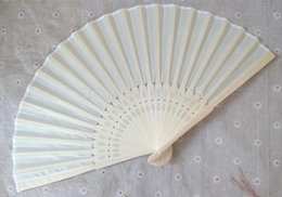 Wholesale Chinese Fans Color - Chinese Silk Bamboo Hand Fans Wedding Fan Bridal Accessories Party Gift 18 different color packaged by opp bags