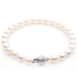 Wholesale South Sea Pearls Rings - Charming 10-11mm natural south seas white pearl bracelet 7.5-8inch 925 silver clasp