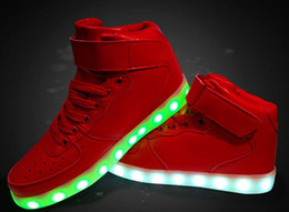 Wholesale Colorful Sneakers For Women - Fashion luminous high quality led USB charging colorful lights lovers casual sneakers for women shoes 3 color