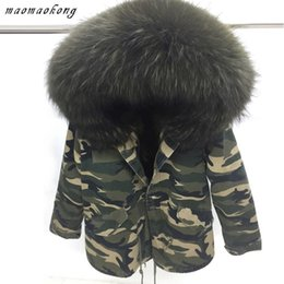 Wholesale Military Army Camouflage Shorts - Camouflage military jacket men or women snow winter furs coat with Real raccoon fur Velvet liner Canada United States