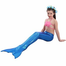 Wholesale Christmas Swimwear - Girls Mermaid Tails Swimwear Cosplay Costume Baby Children Lovely Bikini Kids Swimsuit