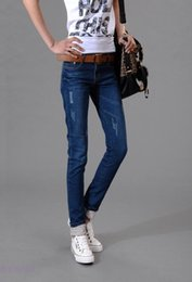 Wholesale Skinny Models High Waist - Wholesale-Free Shipping 2016 Autumn New Models Two Cuffs Worn Jeans Female Casual Trousers Pencil Pants Jeans Woman High Waist Plus Size