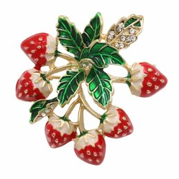 Wholesale Ems Free Delivery - New Arrival Factory Direct Sale Enamel Strawberry Bouquet Brooch Pins For Women Free DHL EMS Delivery Order $100+