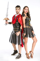 Wholesale Carnival Costumes Couples - sexy Adults Couples Roman Spartan Warrior Gladiator Halloween party Fancy Dress 8-12