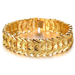 Wholesale Chunky Yellow Jewelry - ZHF JEWELRY 2016 Hot Sale Luxury 18K Yellow Gold Men's Chain Bracelet Wide Cuff Chunky Link Chain attractive accessory