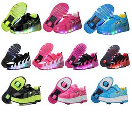 Wholesale Roller Skate Sneakers Kids - Child Girls Boys LED Light Roller Skate Shoes For Children Kids With Wheels Sneakers One wheels size28-43