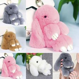 Wholesale Bunny Ornaments - 2017 Cute Fluffy Bunny Keychain Women Trinket Rabbit Key Ring Hare Pompom Dolls Toy Car Key Holder Animal Steering-wheel Pendant