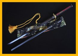 Wholesale Antique Japanese Swords - COLLECTION SWORD for decorate Full Tang Authentic Handmade Damascus Steel Black Folded Steel Japanese Dragon Samurai Katana Ninja Sword #189