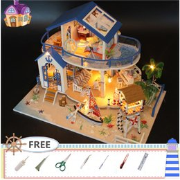 Wholesale Miniature Wood Light House - DIY Dollhouse Miniature Furniture Wooden Model Kids House Xmas Gift LED Light