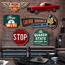 Wholesale House Signs Plaques - Wholesale- Irregular shade Vintage Tin metal Sign plaque Bar pub home House Cafe Restaurant Wall Decor Retro Metal Art sticker Poster
