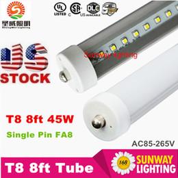 Wholesale Usa Pins - Standard USA FA8 Single Pin 8FT T8 Led Light Tubes 192LEDs 2835 SMD Led Fluorescent Light 45W 4800LM AC 85-277V + UL cUL