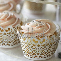 Wholesale Wedding Cupcake Mixed - Free Shipping 500PCS Mix Colors Filigree Cupcake Wrappers Laser Cut Cupcake for Wedding Bridal Shower Party Cake Decoration