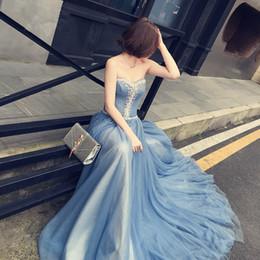Wholesale Mini Court - New Fashion Sweetheart Court Train Long Blue Dress Beading Crystal A-Line Woman Long Dress Elegant Evening Tulle Caftan Dress